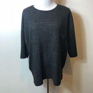 Zara Gray soft knit pocket top size M